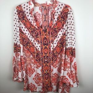Free People - Boho tunic with bell sleeves size S